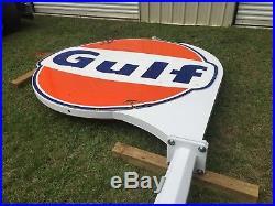 Gulf Porcelain Pole Sign 1965. (Texaco Sinclair Pure American)