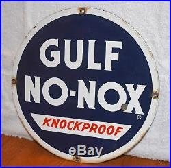 Gulf Pump Sign Original Porcelain No-Nox Knockproof Gas Filling Station