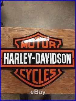 HARLEY DAVIDSON DIECUT PORCELAIN SHIELD DOMED Dealer SIGN! Very Heavy 21x16