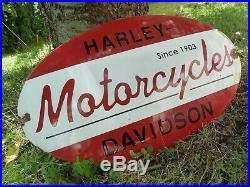 HARLEY Porcelain Sign Vintage Motorcycle Advertising 20 Domed Collectible Biker