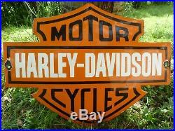 HARLEY Porcelain Sign Vintage Motorcycle Advertising 22 Domed Collectible Biker