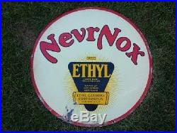 HIGH GRADE RARE 30 Nevrnox Double Sided Porcelain Sign OIL/GAS VERY CLEAN