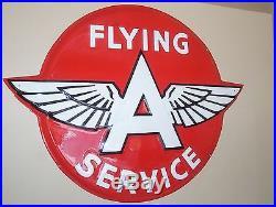 Huge Flying''a'' Service Porcelain Advertising Sign'' Original'