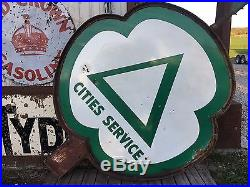 HUGE PORCELAIN CITIES SERVICE Station DSP Pole Sign GAS OIL Display