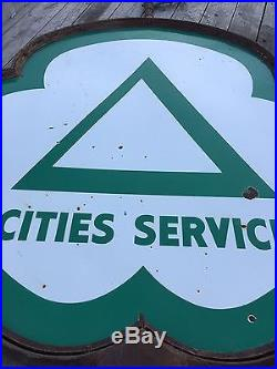 HUGE PORCELAIN CITIES SERVICE Station DSP Pole Sign GAS OIL Display 6 Foot! OLD