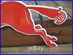 Heavy Thick Porcelain Pegasus Red Horse Sign Mobil Mobiloil Gas Station Sign