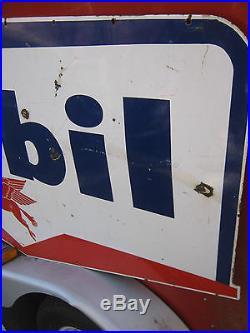 Huge 1959 Mobil Oil Gas Station Porcelain Pegasus Flying Horse USA Art Tool Sign