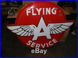 Huge Flying A Service Gas Porcelain Advertising Sign Original 55 x 42 RARE