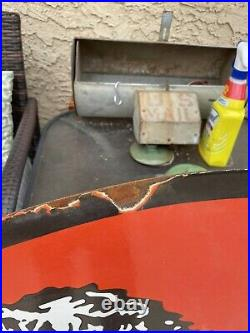 Huge Lion Gasoline & Oil Porcelain 48 Double sided Sign Gas Pump Man Cave Shop