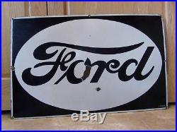 Huge Vintage 1930s Porcelain Ford Dealer Sign Antique Tractor Truck Farm 8490