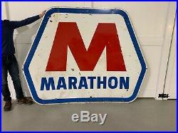 Huge Vintage 1960's Porcelain Marathon Gas Oil Advertising Sign Muscle Car Era