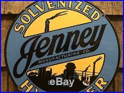 ICONIC Original 1930s JENNEY Gasoline Boston MA Porcelain 12 Pump Plate Sign