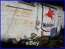 IR46 56 Large Mobilgas 2 sided porcelain sign STOLEN 2 YEARS AGO