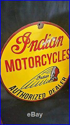 Indian motorcycle vintage Steel porcelain window advertising sign