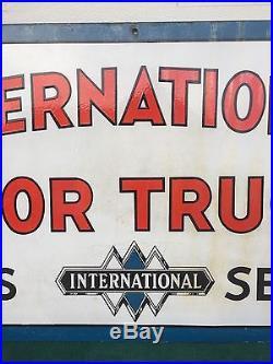 International Motor Trucks Double-Sided Porcelain Dealership Sign