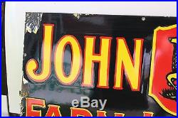 John Deere Farm Implements Porcelain Dealer Sign 3 Legged Tractor Farm Barn Corn