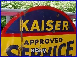 KAISER FRAZER APPROVED SERVICE 58 inch Double Sided PORCELAIN DEALERSHIP SIGN