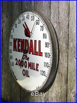 KENDALL MOTOR OIL THERMOMETER SIGN PORCELAIN 1930s