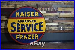 Kaiser frazer SIgn Approved service Porcelain Gas Oil Auto Dealer withring 2 sided