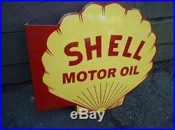 Large Vintage Shell Motor Oil Double Sided Flange Porcelain Sign