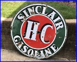 Large 1930s-40s Sinclair HC Gasoline Porcelain Sign 48 Oil Double Sided Scarce