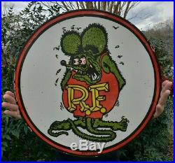 Large 24 1961 Dated Rat Fink Porcelain Sign Double Sided Rare
