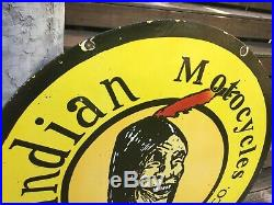 Large 42 Double Sided Indain Motorcycle Porcelain Sign