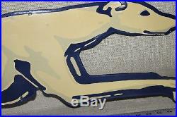 Large 48 Greyhound Bus Train Station Porcelain Sign Gas Oil Farm Barn Car Dog