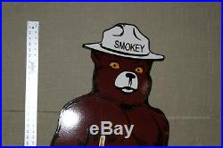 Large 48 Smokey The Bear Us Forest Service Porcelain Sign Gas Oil Farm Trail