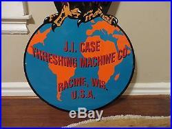 Large 5ft. 60X28 Die Cut Case Eagle Sign Tractor Gas & Oil Porcelain Sign