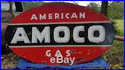 Large American Gas Amoco Sign Double Sided Porcelain Original Station 8×4.5' DSP