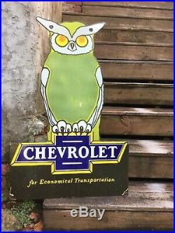 Large Chevrolet Owl Dealer Porcelain Sign