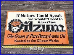 Large Double Sided Oilzum 34 X 20 Porcelain Sign