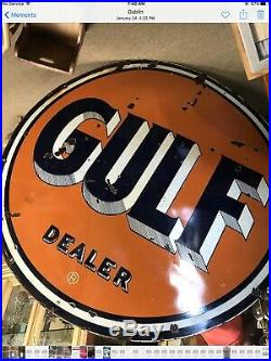 Large Gulf 66 double sided porcelain sign advertising gas oil