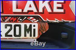 Large Indian Lake Porcelain Road Marker Sign 20 Mile Ohio State Park Gas Oil 66