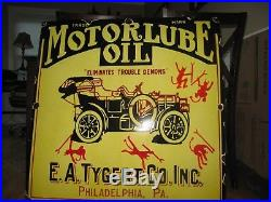 Large Motorlube Oil Porcelain Sign