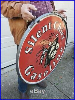 Large Old Used 1940's Silent Chief Gasoline Double Sided Porcelain Sign