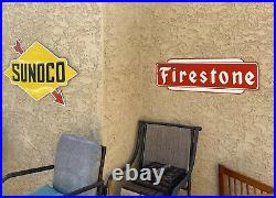 Large Porcelain Firestone Tire Sign 36 Heavy Steel Garage Shop Man Cave