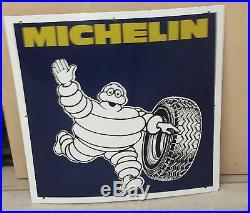Large VINTAGE ORIGINAL Michelin Man PORCELAIN sign 26 by 26 Michelin Tires