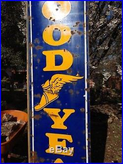 Large Vertical 8' Porcelain Goodyear Sign with Winged Foot, Tire Sign, Gas, Oil