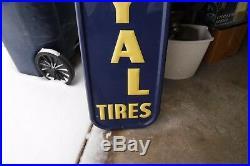 Large Vertical Embossed 1954 US Royal Tires Porcelain Enamel Sign Dated