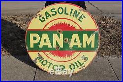 Large Vintage 1920's Pan-Am Gasoline Motor Oil 42 Porcelain Metal Sign