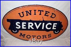 Large Vintage 1930 United Motors Service Gas Oil 2 Side 48 Porcelain Metal Sign