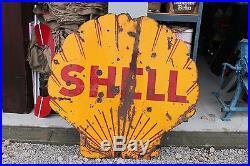 Large Vintage 1930's Shell Gas Station 2 Sided 48 Porcelain Metal Sign