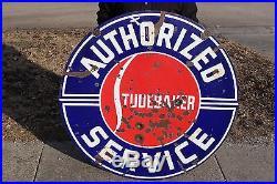 Large Vintage 1930's Studebaker Car Gas Oil 2 Sided 42 Porcelain Metal Sign
