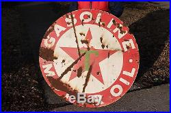 Large Vintage 1930's Texaco Gasoline Oil Gas Station 42 Porcelain Metal Sign