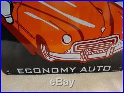 Large Vintage 1939 Mac Economy Auto Porcelain Advertising Sign 31 X 16