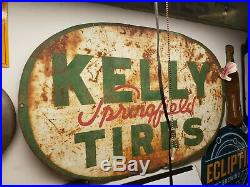 Large Vintage 1940's Kelly Tires Motor Oil Gas Station 48 Porcelain Metal Sign