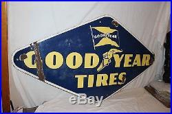 Large Vintage 1948 Goodyear Tires Tire Gas Station Oil 60 Porcelain Metal Sign