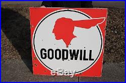 Large Vintage 1950's Pontiac Goodwill Used Cars Gas Oil 36 Porcelain Metal Sign